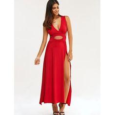 vestido de festa simples, Plunge Moda Neck cortado alta Slit Maxi Vestido