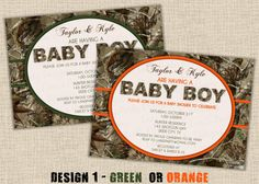 BOY Hunting Camo Baby Shower Invitation  by lanispartydesigns, $15.00 - Make sure they get the message!