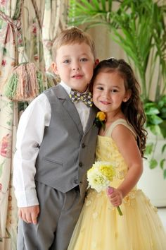 flower girl and ring Barr posed like bride and groom!