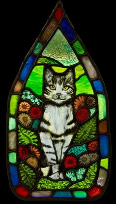 Cat Panel   Hare Moon Stained Glass Gallery