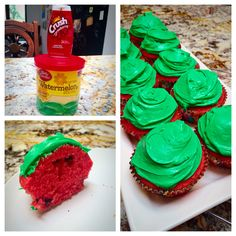 Collis and I made watermelon cupcakes today!  Watermelon icing, GF white cake mix, mini chocolate chips, and our super secret ingredient: Strawberry Crush water enhancer gave the cake batter awesome color and flavor!  These are delicious!