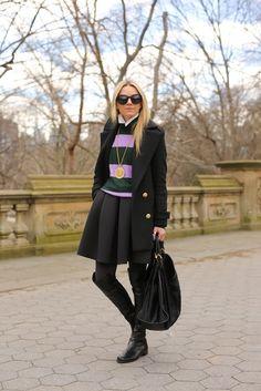 Dress worn as skirt: Tibi. Boots: Stuart Weitzman 50/50. Bag: Gucci. Turtleneck Sweater: Jcrew (old). Top: Equipment. Sunglasses: Karen Walker 'Super Duper'. Necklace: Cinco Powell. Tights: Hue.