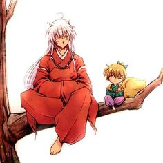 Inuyasha and Shippo , those two are always fighting jeje