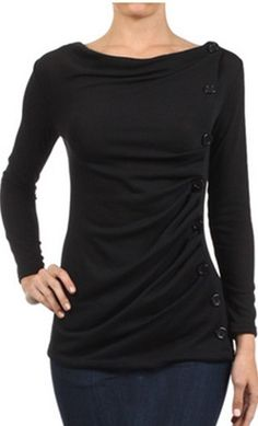 Long sleeve ribbed knit top with side button down detail and cowl high neck available in black, taupe, red and grey S-L at www.apostolicclothing.com #modesty #modestfashion #fashion #tops