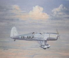 Ryan S-T-A flies over Port Elizabeth, South Africa during the city's first air show on 8 January 1928 (Painting by Ron Belling).