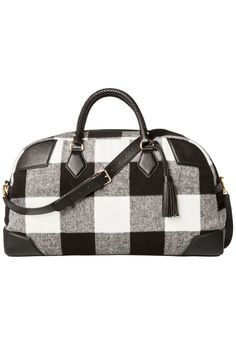 84142aec7f Adam Lippes for Target Shearling Weekender Bag in Black White Plaid
