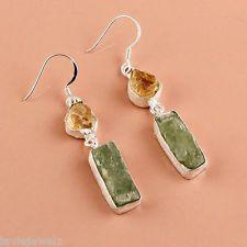 925 Sterling Silver Earrings, Natural Rough Gemstone Green Kyanite Jewelry 7.5gm