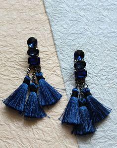 Rosabelle Treasures Blue Tassel Dangler Earrings
