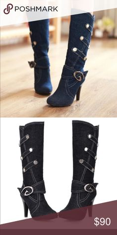 fashion Half boots denim Thin heels Buckle strap fashion Half boots denim Thin heels Buckle strap Solid Black 17 Sundays Shoes Ankle Boots & Booties