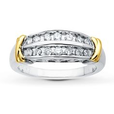 Diamond Ring 1/3 ct tw Round-cut Sterling Silver/10K Gold