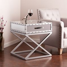 INSPIRE Q Genoa X Base Mirrored Accent Campaign Table - Overstock Shopping - Great Deals on INSPIRE Q Nightstands