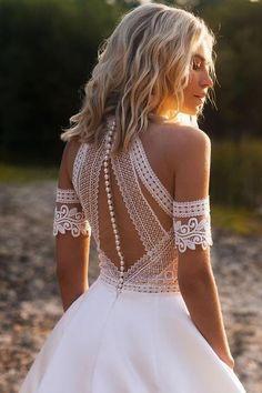 Latest Wedding Gowns, Wedding Dress Trends, Dream Wedding Dresses, Tulle Wedding, Wedding Dresses With Color, Modest Wedding, Wedding Dresses Online, Short Reception Dresses, High Neck Wedding Dresses