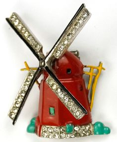 Trifari 'Alfred Philippe' Pave and Enamel Windmill Pin Clip