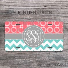 Coral, light Teal and Grey colors design monogrammed car license tag. Designed by MonogramCase to adds great style to your car. Car Monogram, Monogram License Plate, Custom Front License Plates, License Plate Frames, Teal Chevron, Teal Coral, Teal And Grey, Car Tags, Quatrefoil Pattern