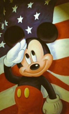 Mickey salude the flag