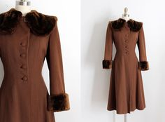 vintage 1940s coat // 40s brown wool jacket by TrunkofDresses on Etsy https://www.etsy.com/listing/258407391/vintage-1940s-coat-40s-brown-wool-jacket