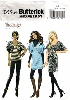 Butterick 5564 Misses' Top, Tunic and Dress