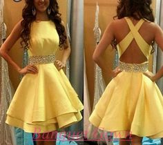 2016 Lovely Yellow Criss-Cross Backless Homecoming Dress 2016 Chiffon Short Prom Gowns With Crystal
