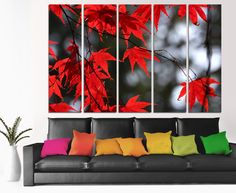 Red Maple Leaves 5 Panel Split Canvas Print. B&W by CanvasQuest