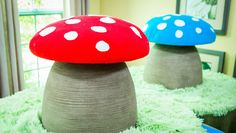 DIY Mushroom Reading Stool - Create the perfect reading nook for your kids with this simple & easy DIY by @paigehemmis & @tmemme28!