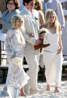 Mary Kate and Ashley Olsen went barefoot as bridesmaids in a Cabo San Lucas beach wedding.