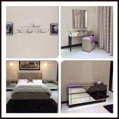 Mirror master bedroom - decor wall, vanity, tufted headboard and dresser