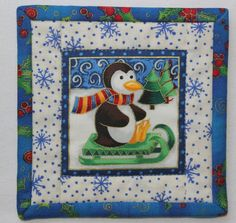 Your place to buy and sell all things handmade Quilted Coasters, Fabric Coasters, Christmas Store, Christmas Gifts, Penguin Mug, Mug Rugs, Hostess Gifts, Winter Holidays, Wall Hangings