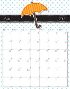 Free Printable Calender! Super Cute for 2013