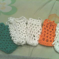 Soap savers handmade by me for the upcoming craft show! Already sold most of them though so, I am busy making more...