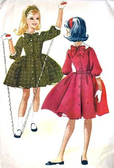 1960s Girls Coat Dress Vintage Sewing Pattern, McCall's 5574 Size 7 uncut via Etsy.