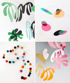 make a mobile using Matisse shapes and colours