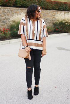 Camel Striped Sweater + Black Distressed Denim