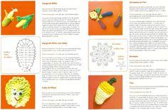 Graça Tricô e Crochê: Legumes em crochê, espiga de milho,alface,caju e beringela