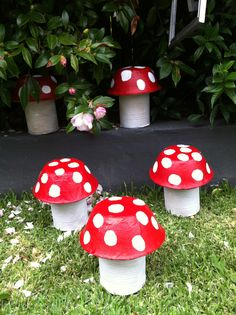 Papier Mache Toadstools Bunting Snow White Party with a vintage twist Red and Wolf Www.facebook.com/Redandwolf