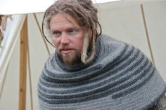 Faces from the Trondheim Viking Market 2013 - Love this naalbound hood
