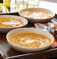 Spiced Pumpkin Bisque: A creamy, curried soup perfect throughout fall and winter. More soup and stew recipes: http://www.midwestliving.com/food/soups/favorite-soups-stews/