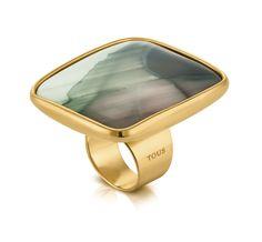 Кольцо Tous - серебро, покрытое золотом, яшма