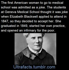 In 1847, Elizabeth Blackwell wanted to go to medical school. Never mind that at the time women simply did not get medical degrees. The 26-year-old hadn't planned to grow up to become a...
