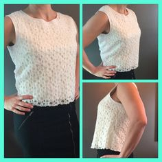 """🌷Gorgeous all season layered Top stunning detail 💜 Super Soft Sheer lined sleeveless Cream Top, Search for Sanity 60% Nylon, 40% Polyester, Lining 63% Rayon 32% Nylon, 5% Spandex💜 Measurements Shoulder to Hem 21"""", Armpit to Armpit 18.5"""" across, Arm opening 8"""", Wash Cold.💜 Fits true to size not fitted, I love this top wear all the time goes with jeans, skirts or pants great length hits at waist. Nordstroms Brand ❤️It washes beautifully looks new each time❤️ ❤️❤️❤️❤️❤️❤️   📦📦 Ship next…"""