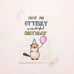 otterly wonderful birthday card