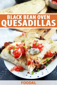 Crispy black bean oven quesadillas are insanely tasty and come together in just 20 minutes. Filled with beans, your favorite salsa, and cheese, the ingredients are simple, and the cooking process is incredibly easy as well. Plus, this fantastic vegetarian meal is easy to customize. #vegetarian #blackbeans #foodal Bean Recipes, Lunch Recipes, Easy Dinner Recipes, Appetizer Recipes, Mexican Food Recipes, Easy Meals, Healthy Recipes, Pepper Recipes, Appetizers