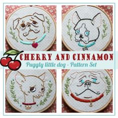Puggly Little Dogs embroidery pattern set