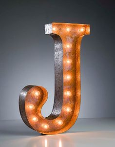Letter J . Vintage marquee lights letter J . by vintagemarqueelights on etsy Marquee Letters, Marquee Lights, Metal Letters, Illuminated Letters, Light Up Letters, Bedroom Lighting, My New Room, Lettering, Rustic