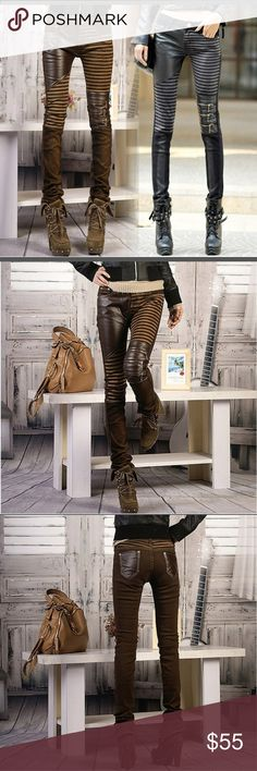 ⭐MORE TO COME -LIMITED QUANITY. -⭐PREORDER ⭐⭐PREORDER⭐⭐  Big Size PU leather Jeans For Women Fashion Casual Pants Woman Denim Trouser pencil pants  ⭐ FASHION JEAN ⭐BRAND: BIG SIZE( JUst a name) Latest fashion Trend. You'll look hot in these anywhere you go.   Quality I'll have: 3 Black in Med  , Large & XL- Brown in Med & Large & XL Pants Skinny
