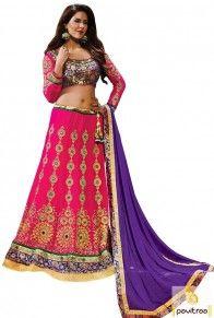 Dark Pink Purple Georgette Wedding Designer Lehenga Choli Online