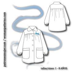bata-escolar Tao, Simple Dresses, Bucket Bag, Skirts, Free, Ideas, Fashion, Child Fashion, Hand Crafts