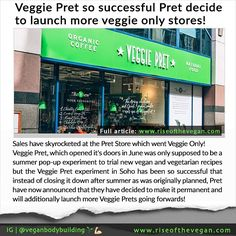 "Great news! Veggie Pret which opened it's doors in June was only supposed to be a summer pop-up experiment to trial new vegan and vegetarian recipes but the Veggie Pret experiment in Soho has been so successful that instead of closing it down after summer as was originally planned Pret have now announced that they have decided to make it permanent and will additionally launch more Veggie Prets going forwards!  The CEO Clive Schlee explains: ""Twelve weeks ago we opened Veggie Pret as a…"
