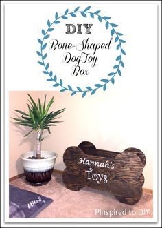 Free woodworking plans for building this DIY Dog Toy Box that is shaped liike a dog bone and personalized with your dog's name. Downloadable plans available. #diyprojects #freewoodworking plans #dogtoyox #forthepets #woodworking #tutorial