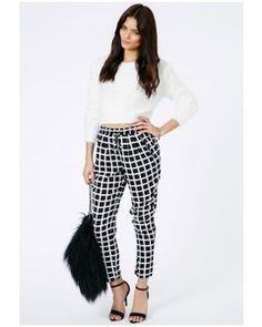 Missguided Ramuna Monochrome Square Print Trousers In Black