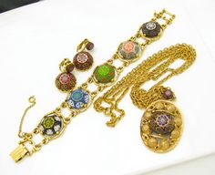 Vintage Jewelry Set CELEBRITY NY Necklace Earrings Bracelet D Demi Parure Colorful Bold. $128.00, via Etsy.